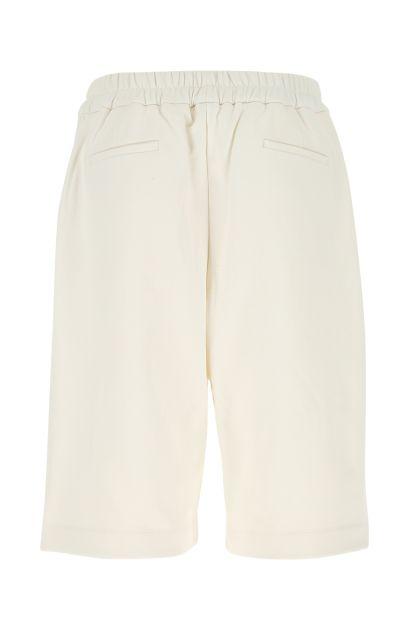 White cotton bermuda shorts