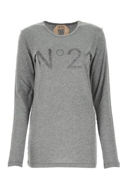 Melange grey cotton and modal top