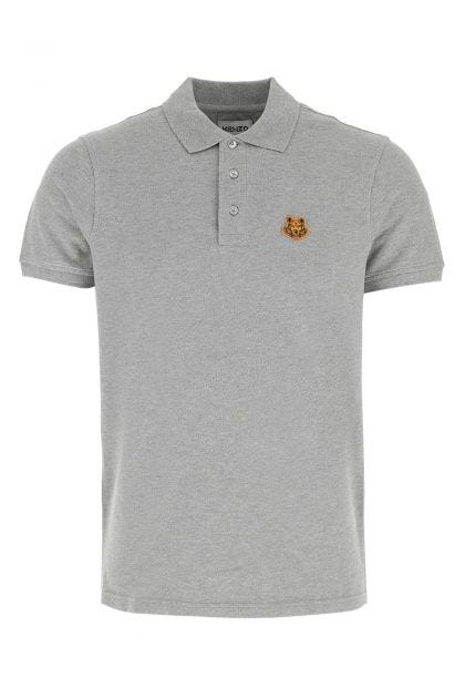 Melange grey piquet polo shirt