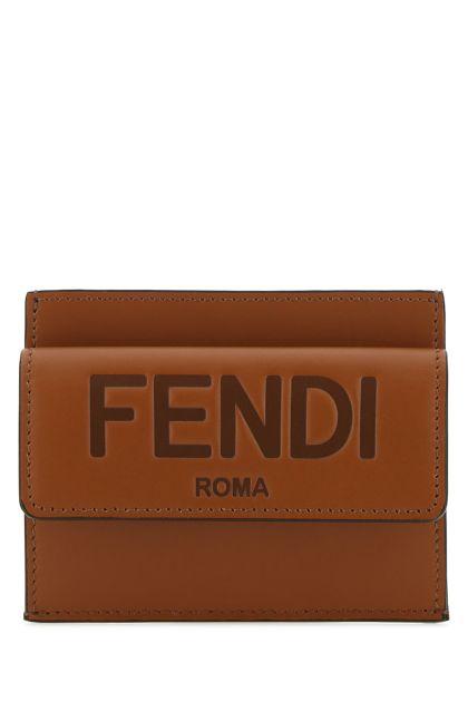Caramel leather card holder