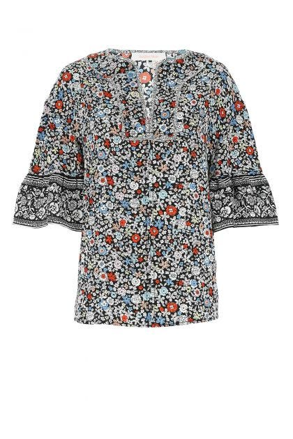Printed polyester oversize blouse