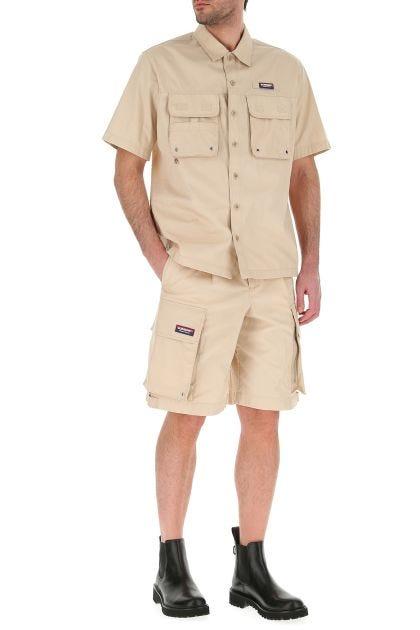 Beige cotton blend shirt