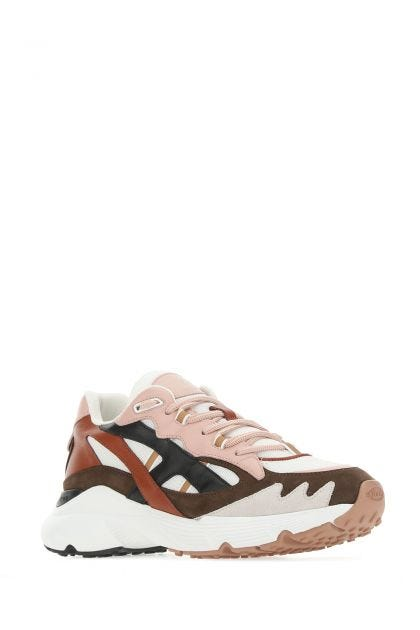Leather and fabric multicolor sneakers