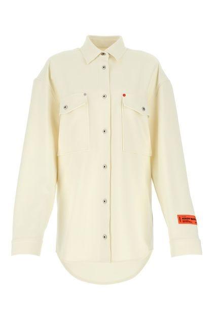 Ivory stretch crepe oversize shirt