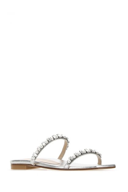 Silver nappa leather Aleena slippers