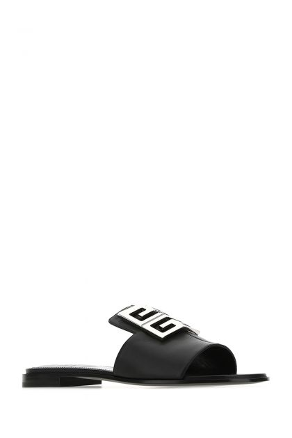 Black leather 4G slippers
