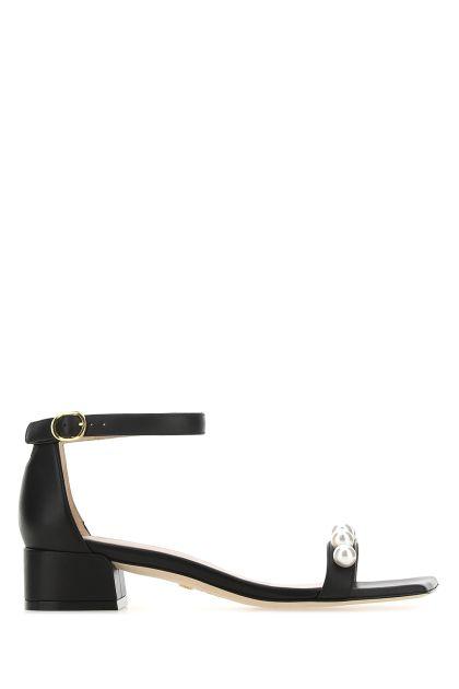 Black leather June Square Pearls sandals