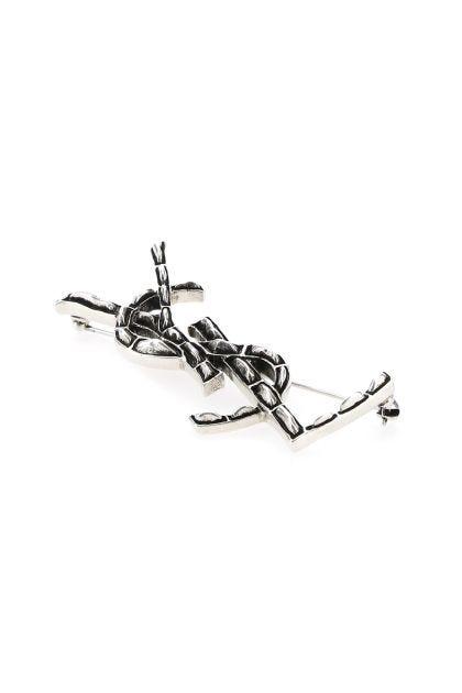 Silver metal Crocodile Opyum safety pin