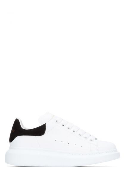 White leather Larry sneakers with black suede heel