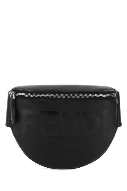 Black leather New Roma belt bag