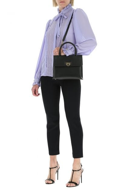 Black leather trifoglio handbag