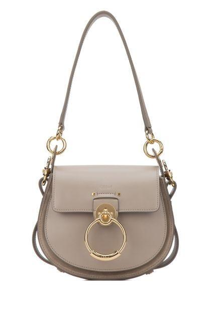 Grey leather mini Tess crossbody bag