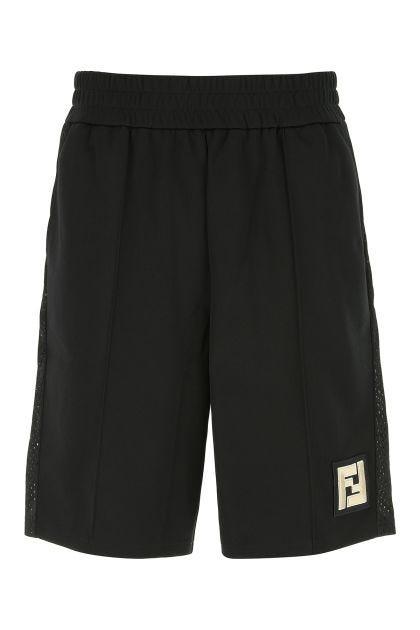 Black polyester blend bermuda shorts