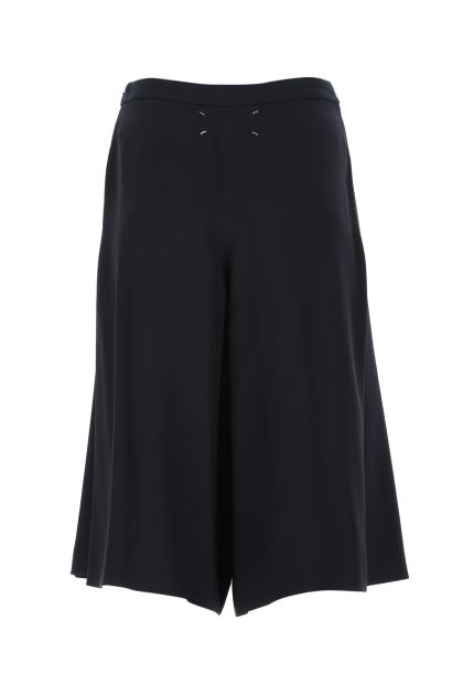 Midnight blue wool blend and viscose blend culotte pant