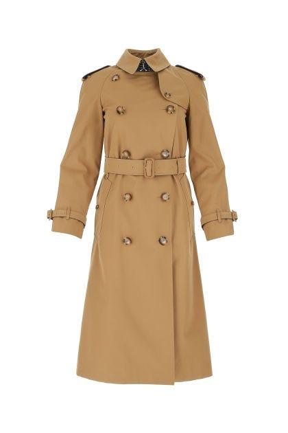 Biscuit gabardine trench coat