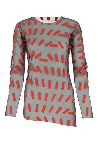 Embellished stretch nylon top