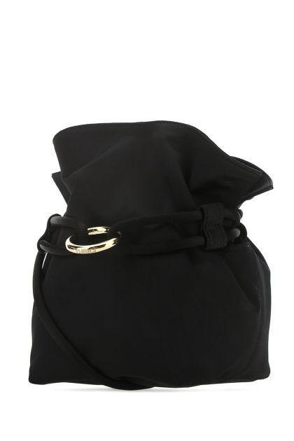 Black satin Roma S bucket bag