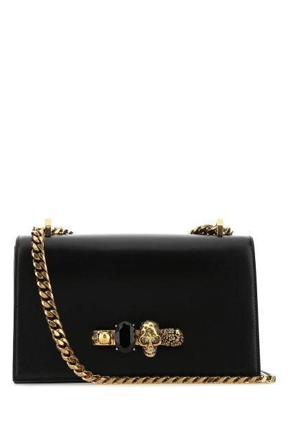 Black leather Jewelled Satchel shoulder bag