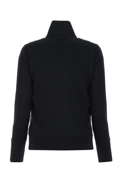Midnight blue wool and nylon cardigan